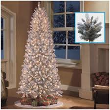 8 Foot Slim Artificial Christmas Tree Great 9 Ft Pre Lit Flocked Snow