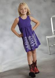 roper girls purple stawberry print tank western dress
