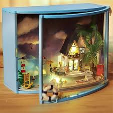 DIY Wooden Love Castle Dollhouse Miniature With Light And Furniture