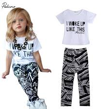 2 9Y Baby Girls Kid Clothes White T Shirt Zebra Stripe Pants