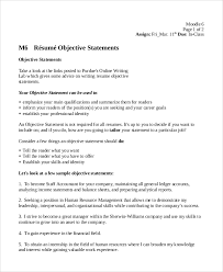 Resume Objective Statement Example