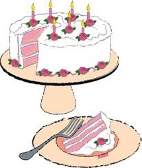 Birthday Cake Clipart Image Birthday cake with birthday candles and a slice of cake on