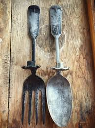 Wooden Fork And Spoon Wall Decor by Vintage Oversized Metal Fork And Spoon Candle Holder Wall Hangings