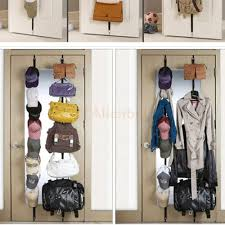 New 16 Hooks Straps Hat Bag Clothes Organizer Hanging Cap Rack Over Door Holder