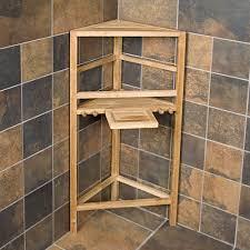 Teak Bathroom Corner Shelves by Teak Shower Caddy Stand Home Teak Shower Organizers Ntw