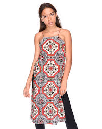 midi red printed slip dress with thin straps and high slits