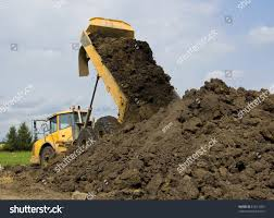 Heavy Duty Dump Truck Dumping Soil Stock Photo (Edit Now) 61621069 ...