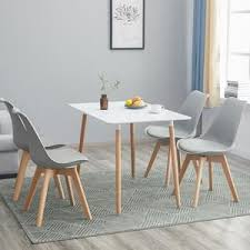 hj wedoo esstisch mit 4 stühlen grau esszimmer essgruppe 110x70x73cm weiß für esszimmer essgruppe esszimmerstuhl