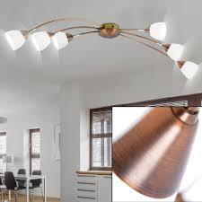 deckenle halogen leuchte metall glas weiß gold esszimmer beleuchtung 6 flammig eglo lavida 26062