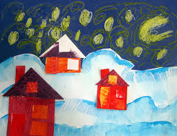 Cassie Stephens In The Art Room Winter Collage Landscapes By Kindergarten