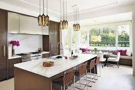 custom lighting canopy options make for a unique kitchen island in