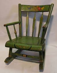 Antique Amish Green Folk Art Stenciled Child's Rocking Chair ...
