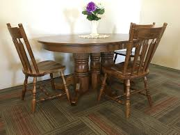 Triple Pedestal Red Oak Table With Colonial Arrowback Chairs ...
