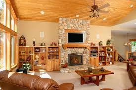 Thumb Great Room Rustic Style Knotty Hickory Light Color Raised Panel Entertainment Center Tv Surround Above