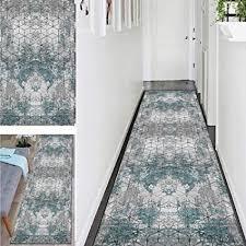 zamay teppich läufer flur rutschfest korridor waschbare teppich 50cmx60cm retro elfenbein blau lang teppiche schlafzimmer bettumrandung