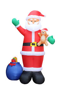 Halloween Blow Up Yard Decorations Canada by Amazon Com 12 Foot Christmas Inflatable Santa Claus With Gift Bag