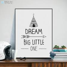 Nordic Black White Inspirational Quotes Dream Poster A4 Modern Nursery Wall Art Picture Kids Room Decor