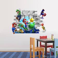 3d Cartoon Wall Art Mural Decor Sticker Kids Room Nursery Decal Poster Cute Brothers Break Through Applique Graphic Murals Decals