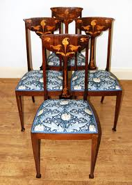 Lovely Set Of Four Inlaid Art Nouveau Dining Chairs In GP&J Baker ... Antique Vintage Art Nouveau Style Set Of 4 Carved Oak Ding Chairs Of Six French Louis Majorelle Caned Mahogany Unusual Victorian Walnut Wrought Iron Floral Lovely Important By Ernesto Basile For Ducrot 6 517550 Ding Chairs Art Nouveau Chair Set Sold Eight Period Tallback Stunning Inlaid High Back 2 Vinterior Fniture Antique Cupboards Tables
