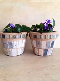 Mosaic Flower Pot Small Rustic Indoor Planter Succulent Pots Outdoor Kitchen Plant Storage Handmade Art Patio Sets
