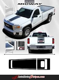 100 Gmc Truck 2014 2018 GMC Sierra Midway Stripe Center Hood Decal Vinyl Graphic