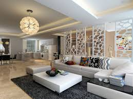 Modern Living Room Amazing Designs White L Shaped Cushions Chandelier Rugs Gray Contemporary
