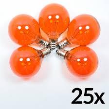 transparent orange 7 watt incandescent g40 globe light bulbs e12