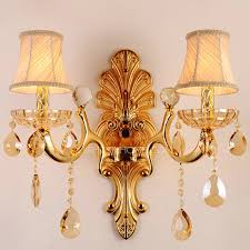 luxury 2 light k9 fabric shade decorative wall sconces