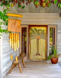Bamboo Beaded Door Curtains by Painted Hawaiian Bamboo Bead Door Hanging With Palm Tree
