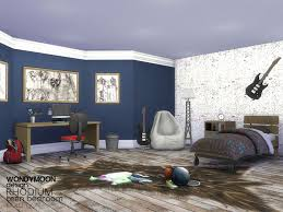 Rhodium Teen Bedroom Found In TSR Category Sims 4 Kids Sets