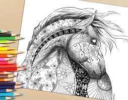 Adult Coloring Page From Book For Adults Horse