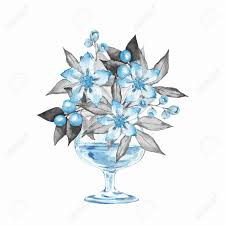 100 Flannel Flower Glass Vase With S Watercolor Illustration 6 Stock Photo
