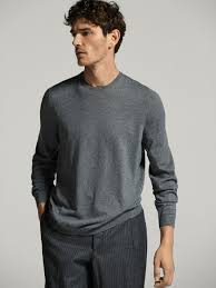 cotton silk cashmere sweater with elbow patches men massimo dutti
