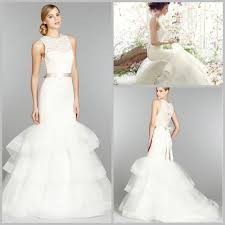 simple lace frill wedding dress with belt decoration of mermaid