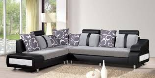 Black Leather Grey Pattern Small Living Room Sofa Chrome Polished Feet Square Ivory Wool Floor