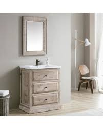 Infurniture Rustic Style 30 Inch Single Sink Bathroom Vanity White Ceramic Top