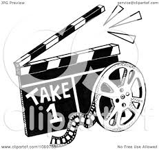 Clipart Take 1 Clapper Board And Reel Sketch Royalty Free Illustration by LoopyLand