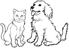 Coloring Page Dog Dogs Bone Pages Cartoon Colouring Free