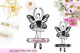 Ballerina With Wings Svg Paper Cutting Template Butterfly Split Monogram Banner