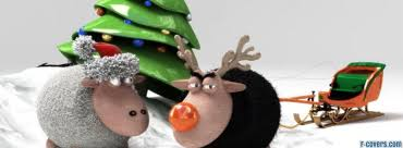 Sheep And Christmas Tree Facebook Cover