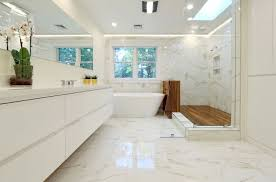 Beautiful White Bathroom With Marble And Wood Deck For Shower