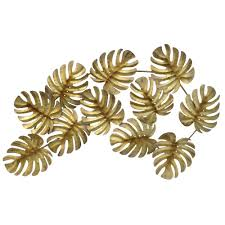 Gold Metal Wall Decor Three Hands Tropical Leaves Decor10116 The Home