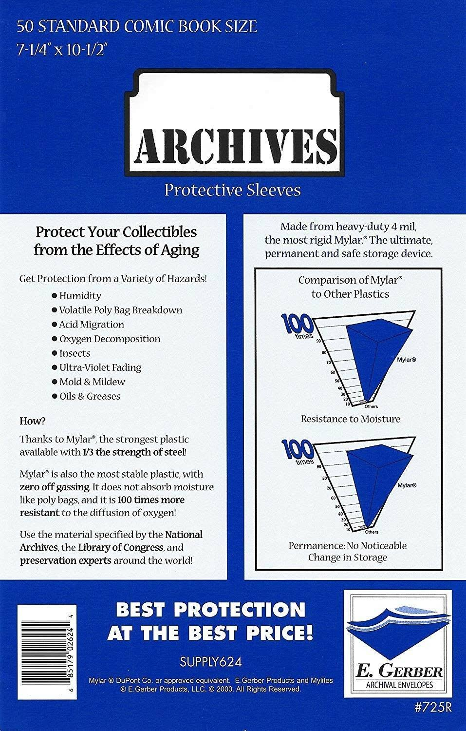 50 - E. Gerber Archives Standard 4-Mil Comic Book Mylar Sleeves - 725r