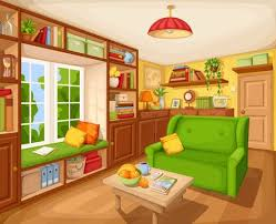 Vector Cozy Living Room Interior With Bookcase Sofa And Table Illustration