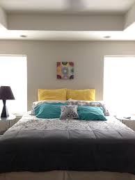 teal yellow and gray bedroom home decorating interior design