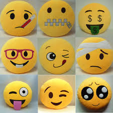 13 Inch Round Cushion Soft Emoji Smiley Emoticon Stuffed Plush Toy