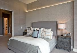 Superb Wingback Bed In Bedroom Contemporary With Accent Wall Behind Next To Grey Bedding Alongside