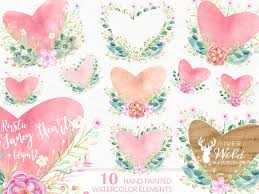 Watercolor Valentines Day Clipart Rustic Floral Wedding Commercial Use Set Heart PNG From