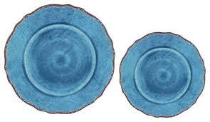 Dinnerware Sets Blue Melamine Assorted Plates Set Of 16 Rustic Stoneware