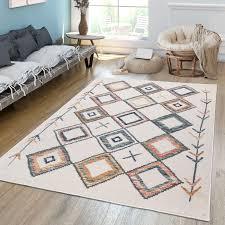 wohnzimmer teppich mit ethno muster bunt